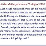 Monatsbotschaft der Muttergottes vom25. August 2016