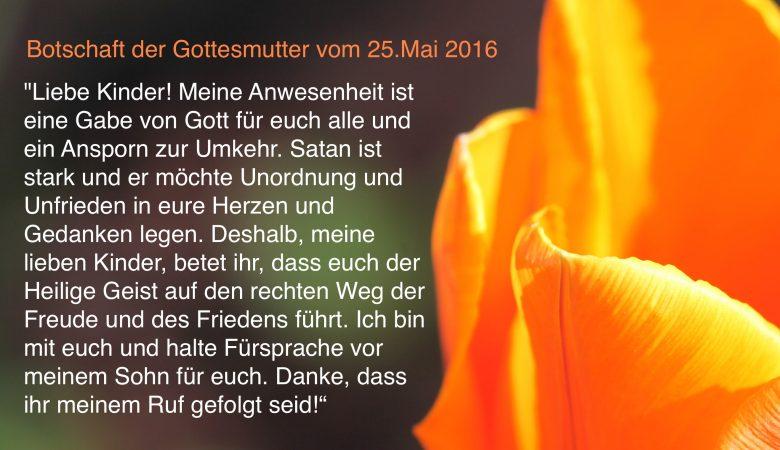 Botschaft der Gottesmutter vom 25. Mai 2016